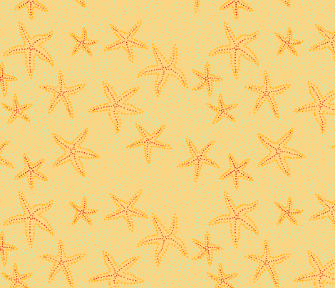 Yellow Starfish fabric by oliverands on Spoonflower - custom fabric