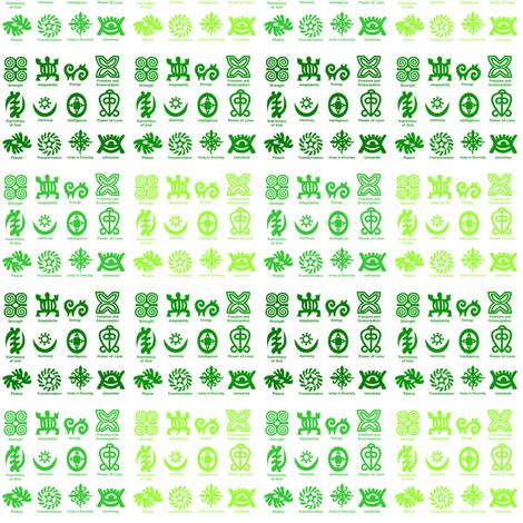 Adinkra Fades-Green-005 fabric by kkitwana on Spoonflower - custom fabric