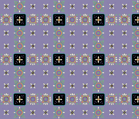 leafmandalasperriwinkle fabric by leslipepper on Spoonflower - custom fabric