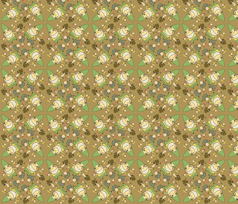 gnomes in brown fabric by heidikenney on Spoonflower - custom fabric