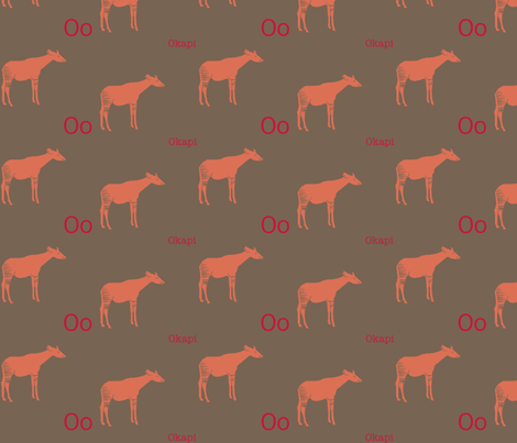 O is for Okapi fabric by maile on Spoonflower - custom fabric