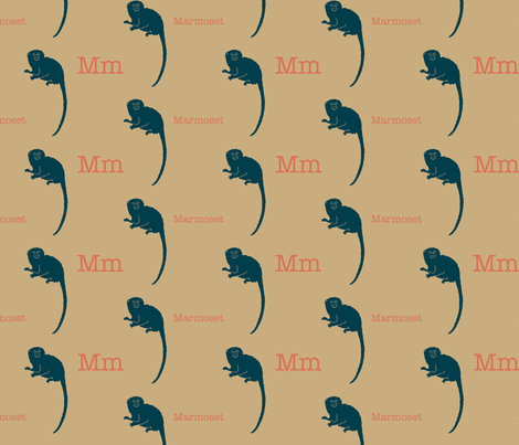 M is for Marmoset fabric by maile on Spoonflower - custom fabric
