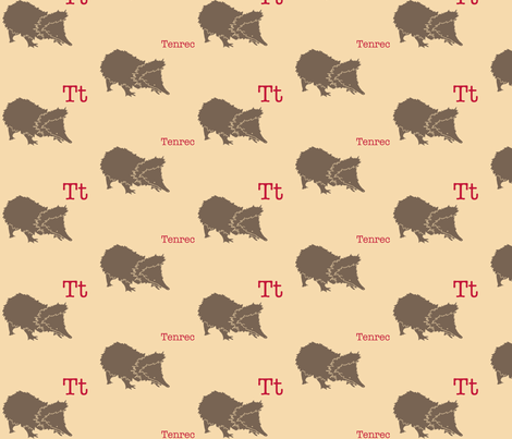T is for Tenrec fabric by maile on Spoonflower - custom fabric