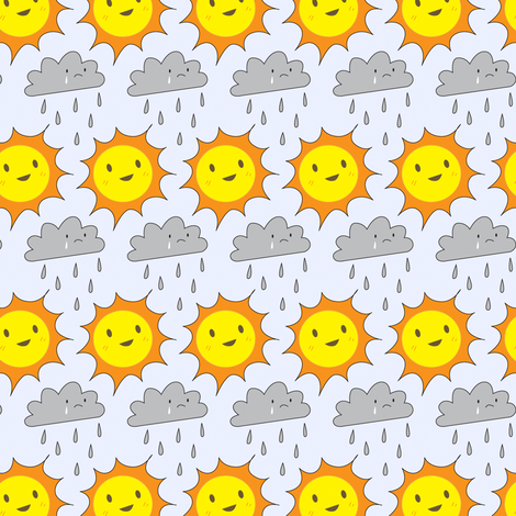 Happy Sun and Sad Rain fabric by marcelinesmith on Spoonflower - custom fabric
