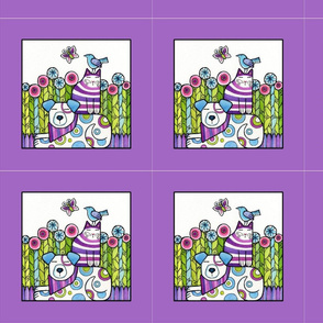 Peaceable Kingdom Quilt Block Lavender