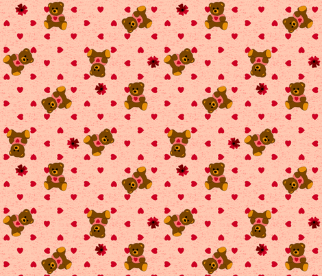 Bear Hugs - Rose fabric by inscribed_here on Spoonflower - custom fabric