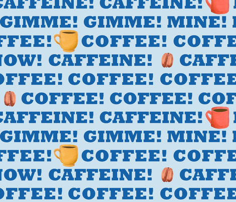 coffee_big_blue fabric by primenumbergirl on Spoonflower - custom fabric
