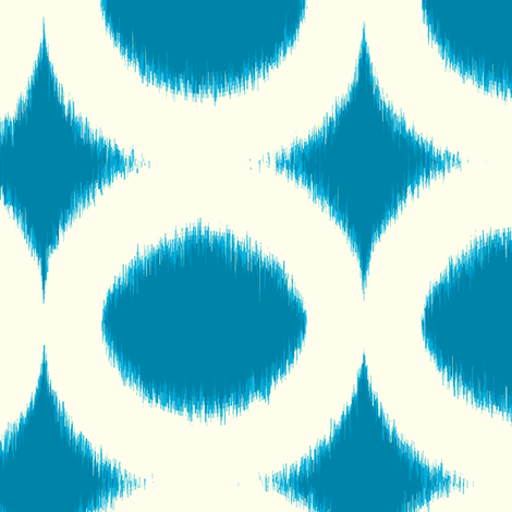 peacock cream circle ikat fabric by domesticate on Spoonflower - custom fabric