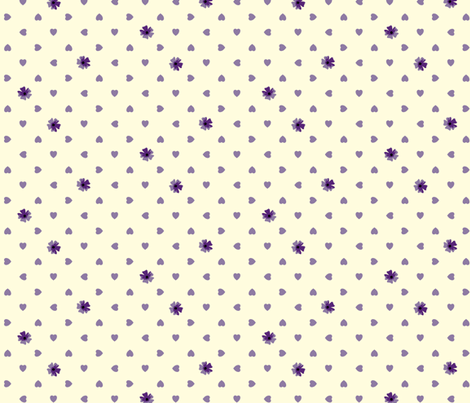 Hearts n Flowers - Blueberry fabric by inscribed_here on Spoonflower - custom fabric