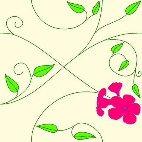 Mirrored repeat - vll flowered vine - hot pink fabric by victorialasher on Spoonflower - custom fabric