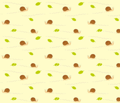snails & leaves fabric by robinde on Spoonflower - custom fabric