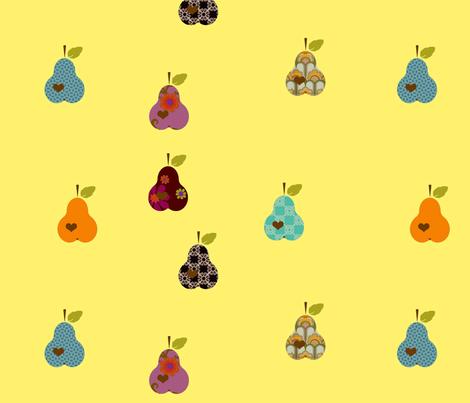 päron1-gul fabric by snork on Spoonflower - custom fabric