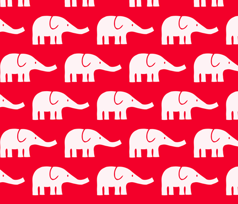LARGE Elephants in red  fabric by katharinahirsch on Spoonflower - custom fabric