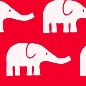 LARGE Elephants in red