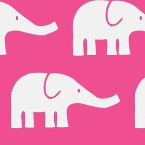 LARGE Elephants in dark pink