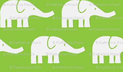 LARGE Elephants in green