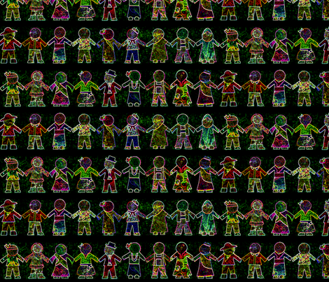 International Paper Dolls - Version 2 - Glowing on Black Background fabric by amy_lou_who on Spoonflower - custom fabric