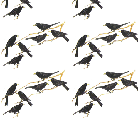 Blackbirds fabric by anenome on Spoonflower - custom fabric