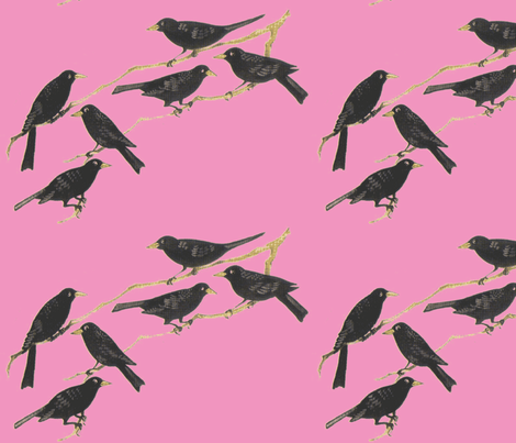 Blackbirds on pink fabric by anenome on Spoonflower - custom fabric