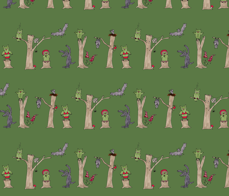 halloween in the forest, green fabric by susalabim on Spoonflower - custom fabric