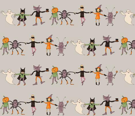 halloweenparade grey fabric by susalabim on Spoonflower - custom fabric