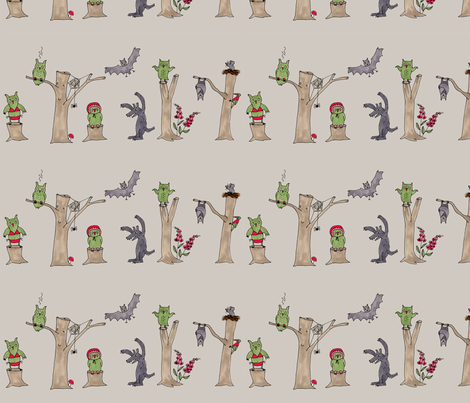halloween in the forest, grey fabric by susalabim on Spoonflower - custom fabric