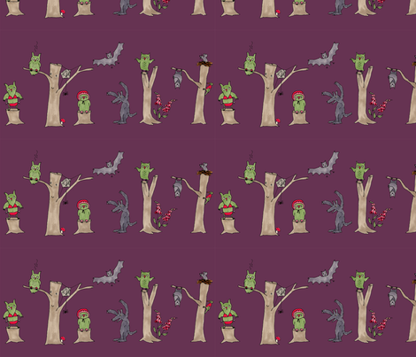 halloween in the forest, purple fabric by susalabim on Spoonflower - custom fabric