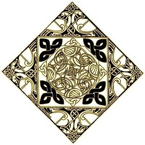 Celtic Knotwork Birds, White, Black and Gold