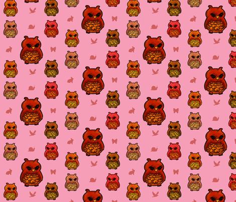 Smaller Owls Pretty Pink  fabric by emmari on Spoonflower - custom fabric