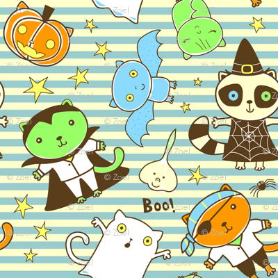 Cats Bats and Racoons Halloween