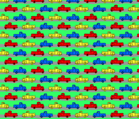 old_trucks_with_road fabric by doodles46 on Spoonflower - custom fabric