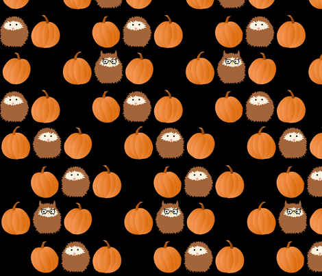 halloween_owl_hedgie_jpg fabric by vo_aka_virginiao on Spoonflower - custom fabric