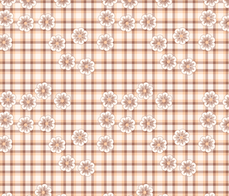 pink flower plaid fabric by suziedesign on Spoonflower - custom fabric