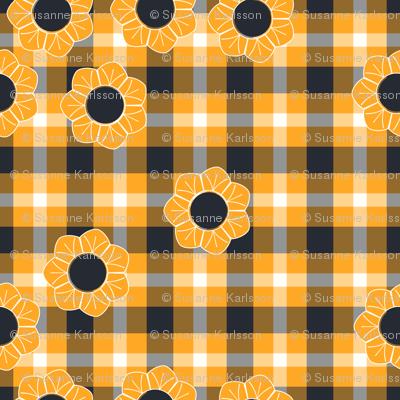yellow black flower plaid