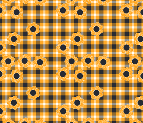 yellow black flower plaid fabric by suziedesign on Spoonflower - custom fabric