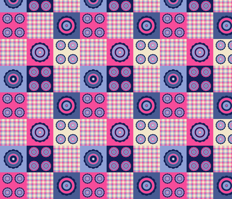 flower and plaid pattern fabric by suziedesign on Spoonflower - custom fabric