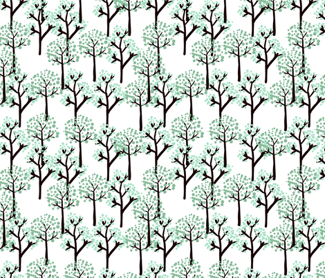 retro trees fabric by suziedesign on Spoonflower - custom fabric