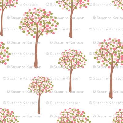 retro spring trees