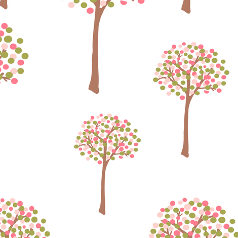 retro spring trees fabric by suziedesign on Spoonflower - custom fabric