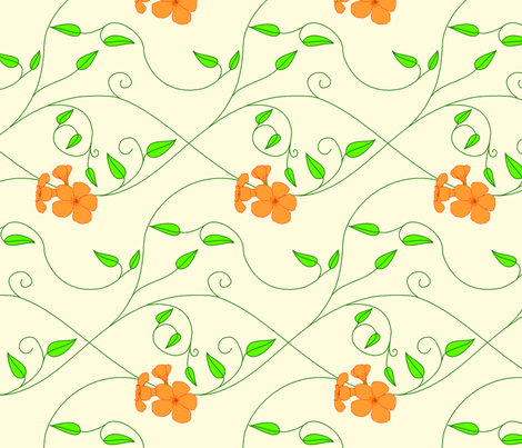 Half brick repeat - vll flowered vine - orange fabric by victorialasher on Spoonflower - custom fabric