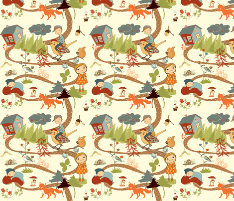fairytale forest - cream fabric by peikonpoika{by}brunou on Spoonflower - custom fabric