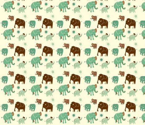 Elephant turkos fabric by peikonpoika{by}brunou on Spoonflower - custom fabric