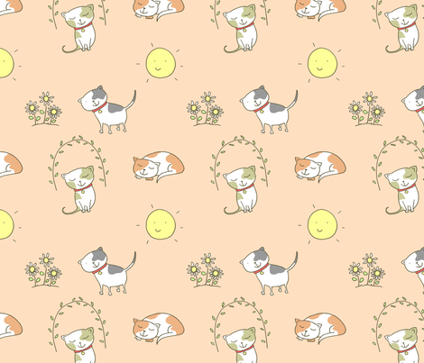 Summer Cats fabric by zoel on Spoonflower - custom fabric