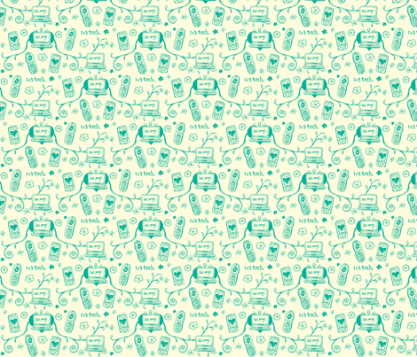 Techie Toile in Teal fabric by ifneedb on Spoonflower - custom fabric