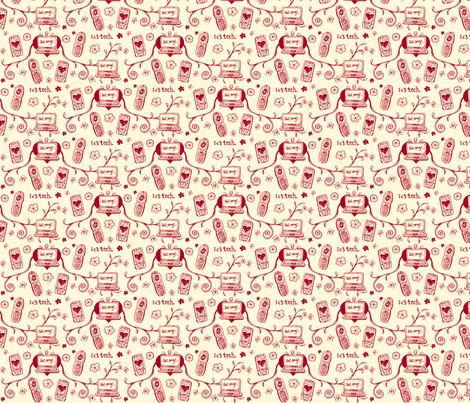 Techie Toile in Valentine fabric by ifneedb on Spoonflower - custom fabric