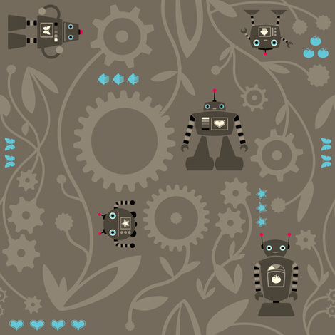 Robot Gear Garden fabric by jackieatweelife on Spoonflower - custom fabric