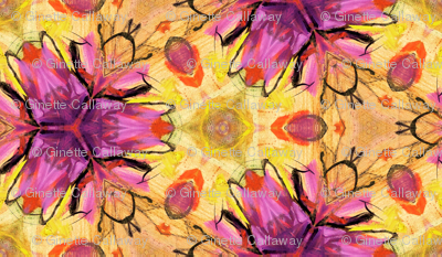 Echinecea Abstract Flower by Ginette