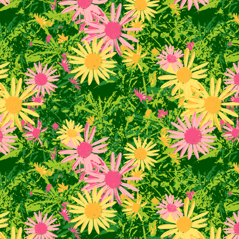Wild Daisy - Crocodile Green fabric by inscribed_here on Spoonflower - custom fabric