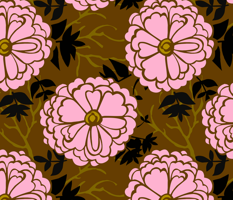 WinterFlowersPink fabric by renule on Spoonflower - custom fabric