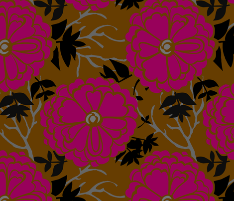WinterFlowersRed fabric by renule on Spoonflower - custom fabric